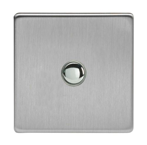 Varilight IJDSS001S Screwless Brushed Steel 1 Gang Touch Dimming Slave (use only with Master)